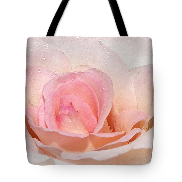 Blush Pink Dewy Rose Tote Bag by Phyllis Denton