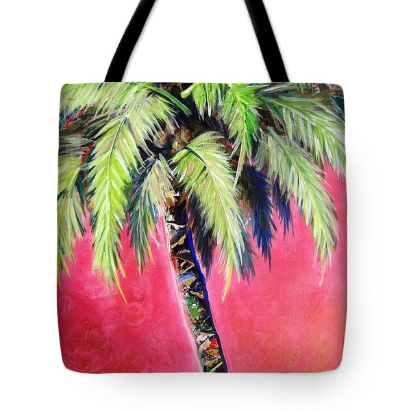 Blushing Pink Palm Tote Bag by Kristen Abrahamson