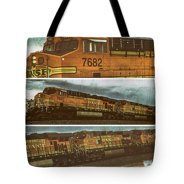 Bnsf 7682 Triptych  Tote Bag by Bartz Johnson