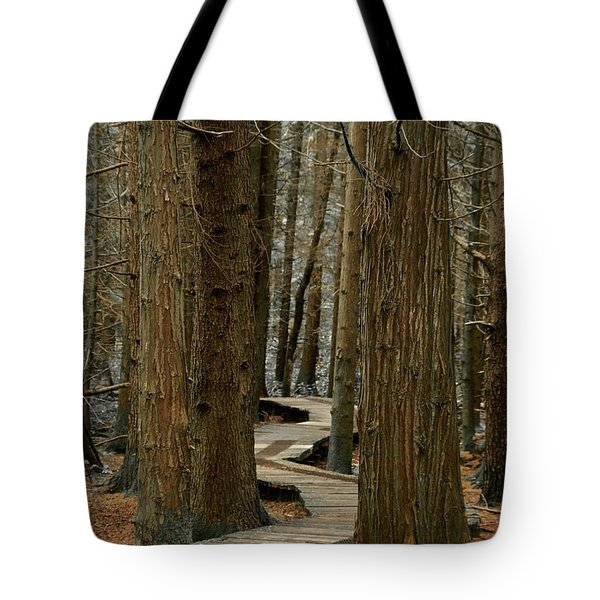 Boardwalk Among Trees Tote Bag