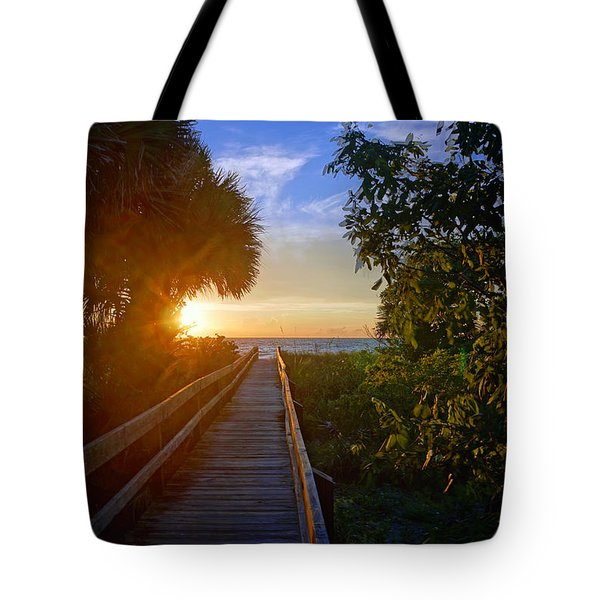 Sunset At The End Of The Boardwalk Tote Bag