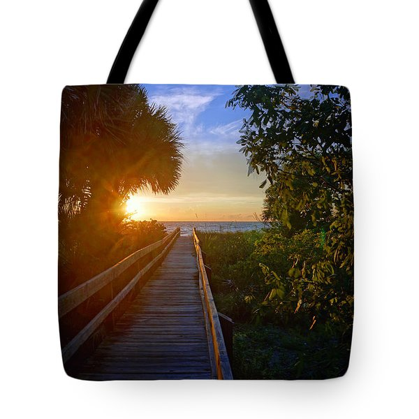 Sunset At The End Of The Boardwalk Tote Bag by Robb Stan