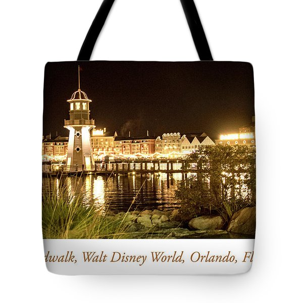 Boardwalk At Night, Walt Disney World Tote Bag