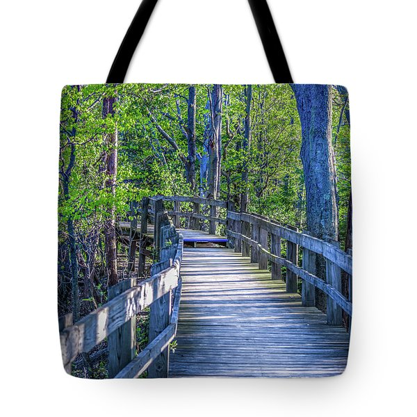 Tote Bag featuring the photograph Boardwalk Going Into The Woods by Lester Plank