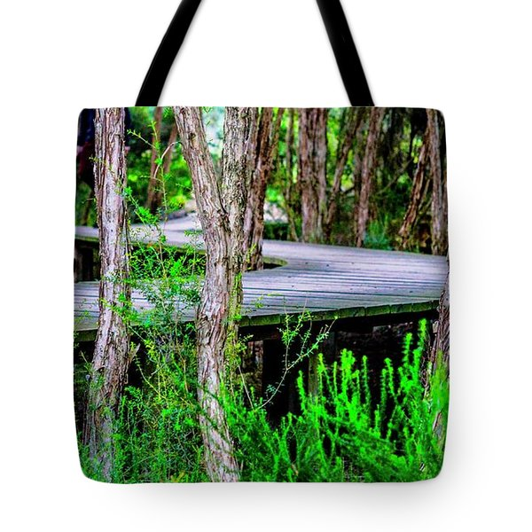 Boardwalk In The Woods Tote Bag