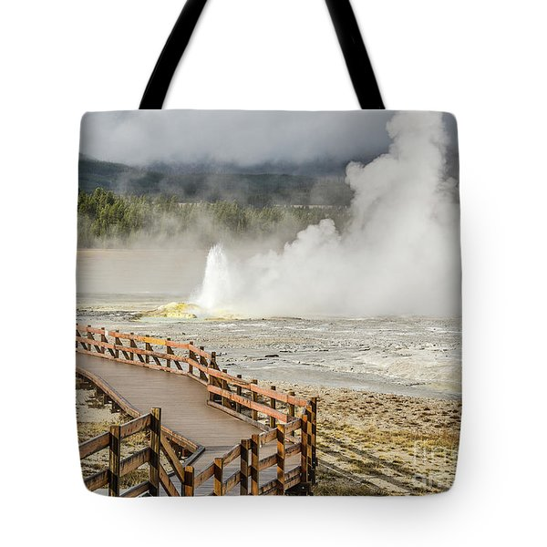 Tote Bag featuring the photograph Boardwalk Overlooking Spasm Geyser by Sue Smith