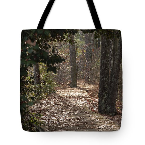 Boardwalk Through The Woods Tote Bag