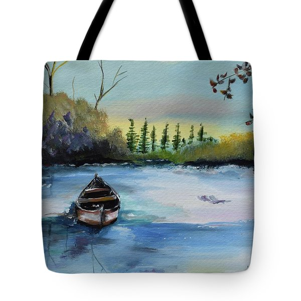 Tote Bag featuring the painting Boat Abandoned On The Lake by Jan Dappen