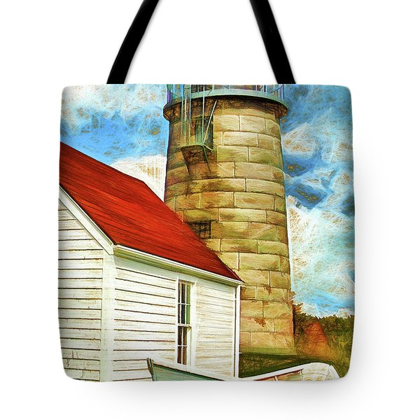 Boat And Lighthouse, Monhegan, Maine Tote Bag by Dave Higgins