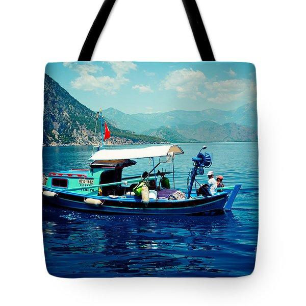 Boat And Sapfir Sea Seascape Artmif Tote Bag