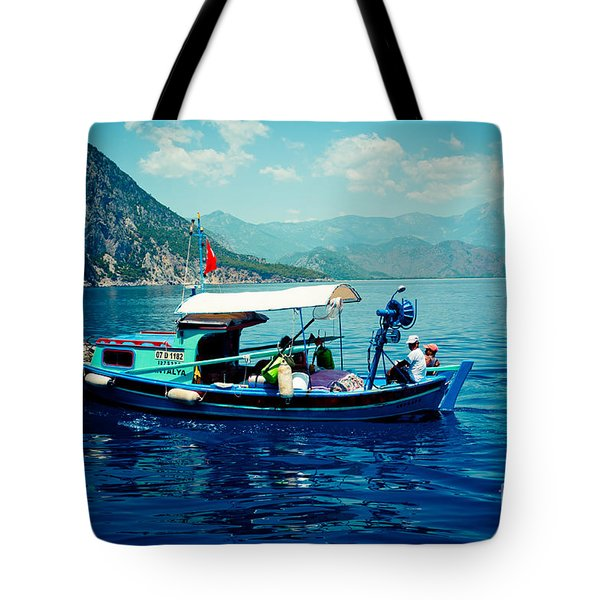 Boat And Sapfir Sea Seascape Artmif Tote Bag