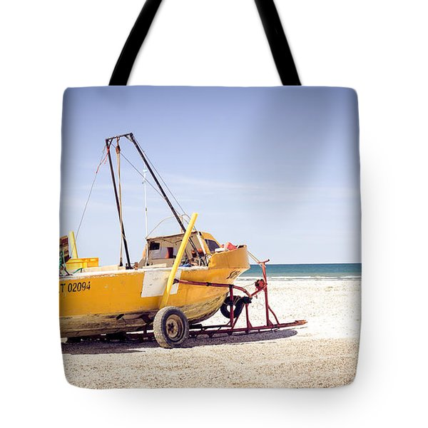 Tote Bag featuring the photograph Boat And The Beach by Silvia Bruno