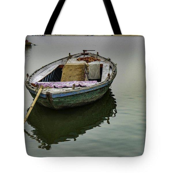 boat at Ganges Tote Bag