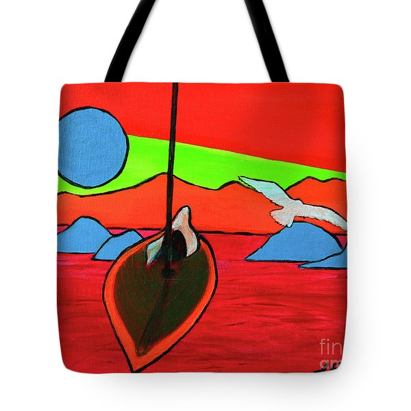 Boat, Bird And Moon Tote Bag by Jeanette French