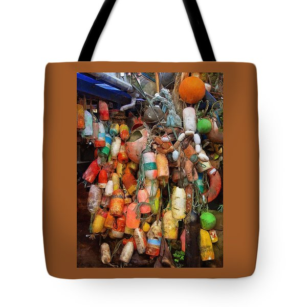 Tote Bag featuring the photograph Crab Pot Buoys by Thom Zehrfeld