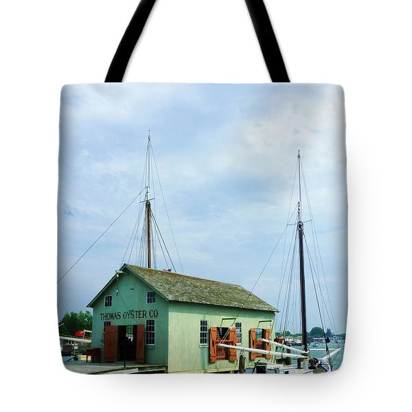Tote Bag featuring the photograph Boat By Oyster Shack by Susan Savad