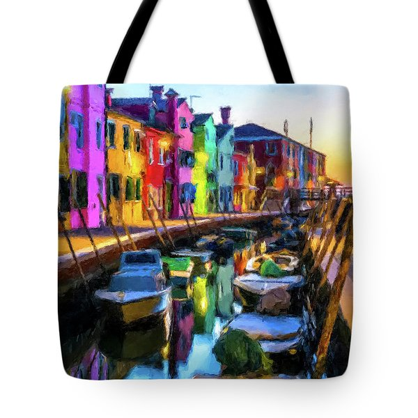 Boat Canal Tote Bag
