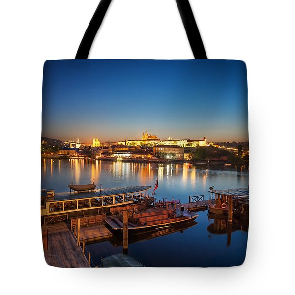 Boat Dock Near St. Vitus Cathedral, Prague, Czech Republic. Tote Bag