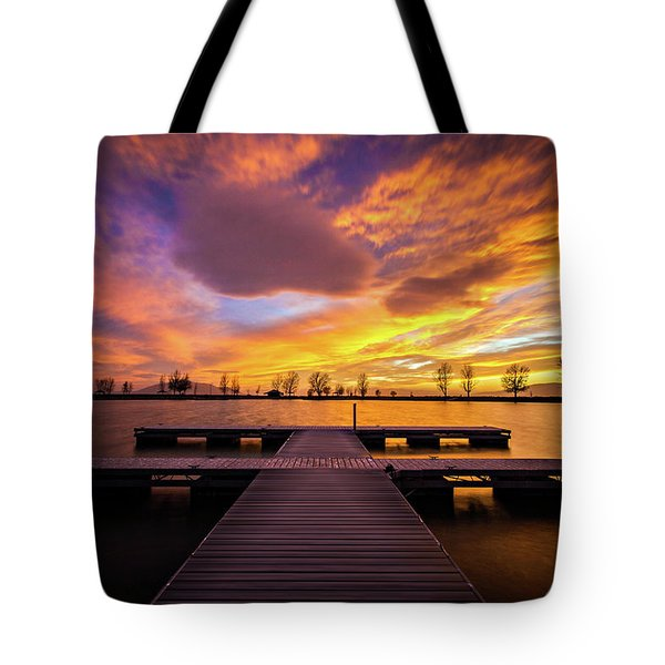 Tote Bag featuring the photograph Boat Dock Sunset by Wesley Aston