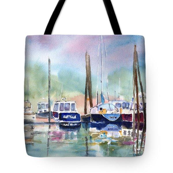 Boat Harbor In Fog Tote Bag