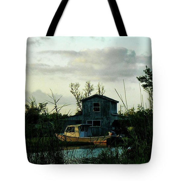Tote Bag featuring the photograph Boat House by Cynthia Powell