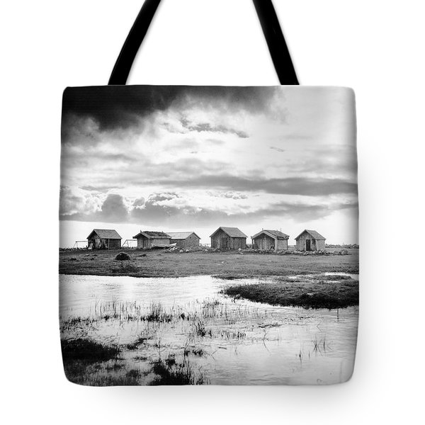 Boat Houses By The Shore In Kallahamn Harbor Tote Bag