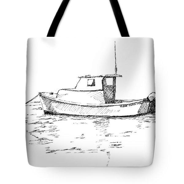 Boat In Casco Bay Tote Bag