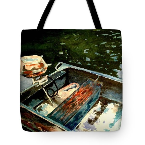 Boat In Fog 2 Tote Bag by Marilyn Jacobson