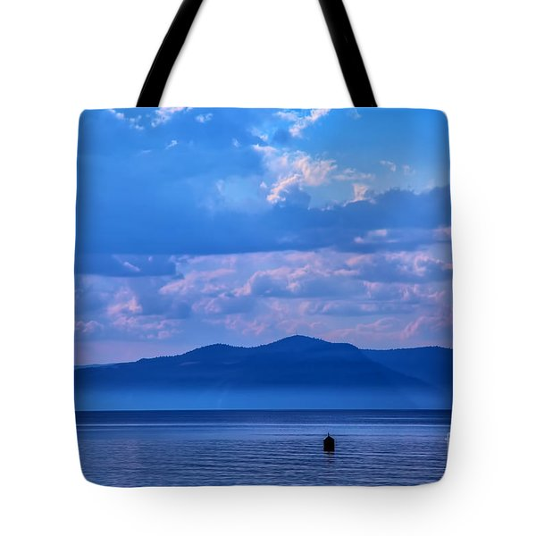 Boat In Lake Tote Bag