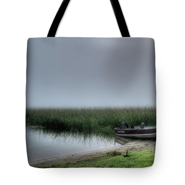 Boat In The Fog Tote Bag