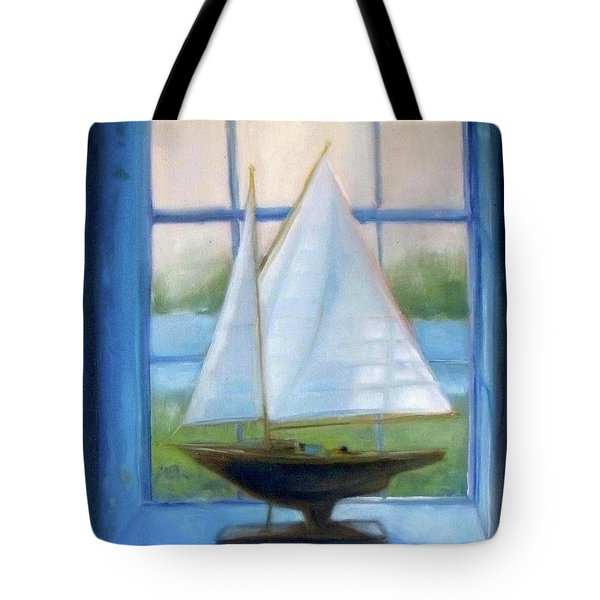 Boat In The Window Tote Bag