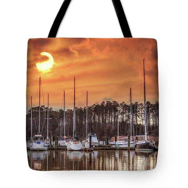 Boat Marina On The Chesapeake Bay At Sunset Tote Bag