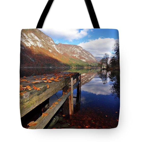 Boat Mooring At Lake Bohijn Tote Bag by Graham Hawcroft pixsellpix