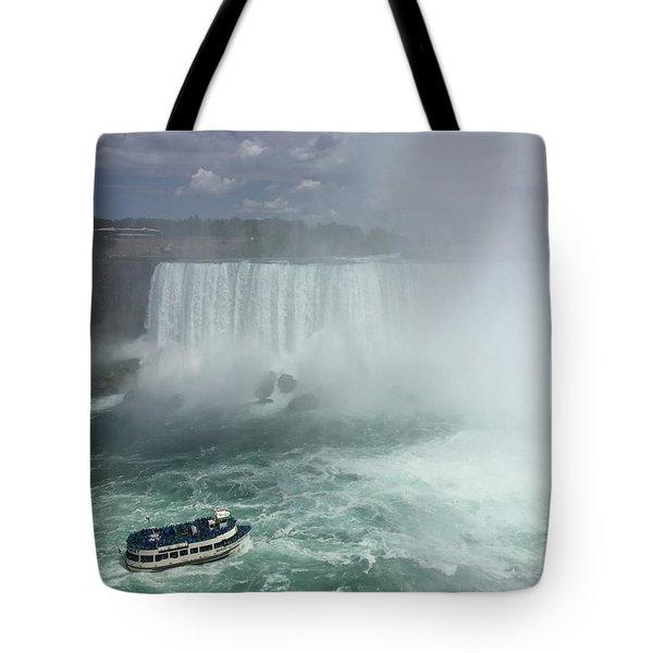 Boat Near Niagara Falls Tote Bag