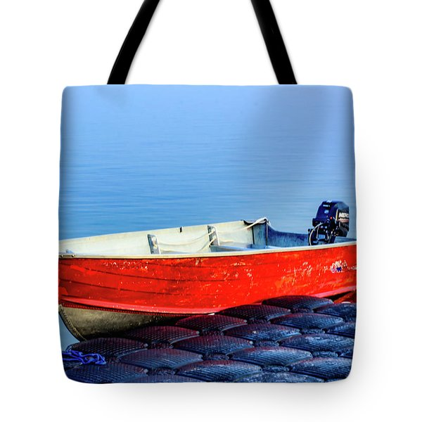 Boat On A Dock Tote Bag