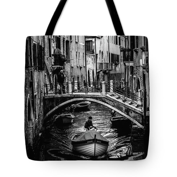 Boat On The River-bw Tote Bag