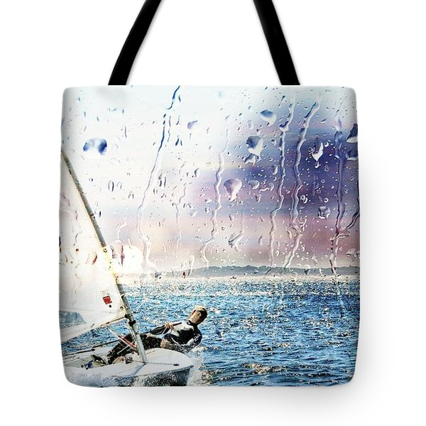 Boat On The Sea Tote Bag