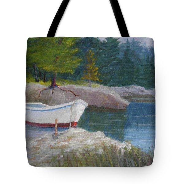 Boat On Tidal River Tote Bag