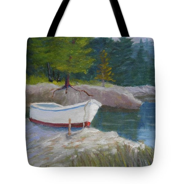 Boat On Tidal River Tote Bag