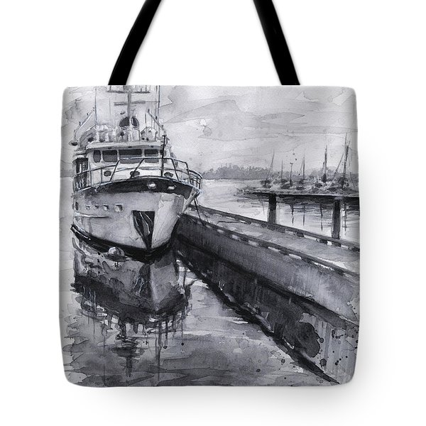 Boat On Waterfront Marina Kirkland Washington Tote Bag