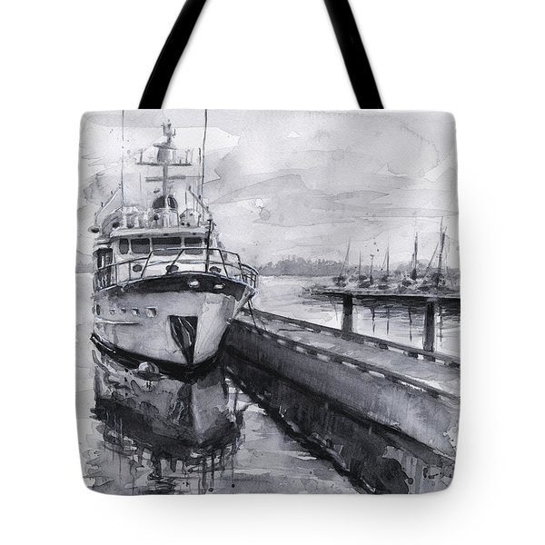 Boat On Waterfront Marina Kirkland Washington Tote Bag by Olga Shvartsur