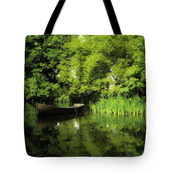 Boat Reflected On Water County Clare Ireland Painting Tote Bag