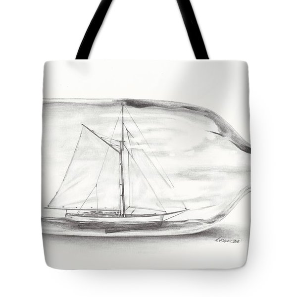 Boat Stuck In A Bottle Tote Bag by Meagan  Visser