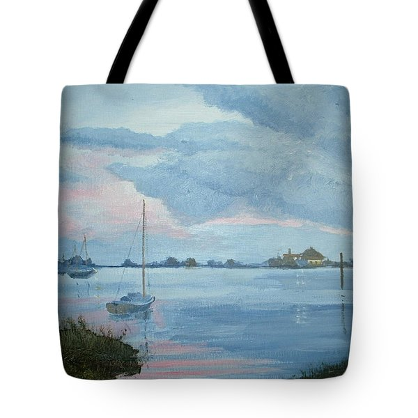 Boat Sunset Tote Bag