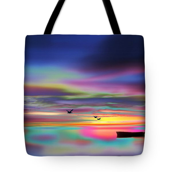 Boat Sunset Tote Bag