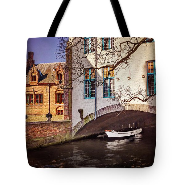 Tote Bag featuring the photograph Boat Under A Little Bridge In Bruges  by Carol Japp