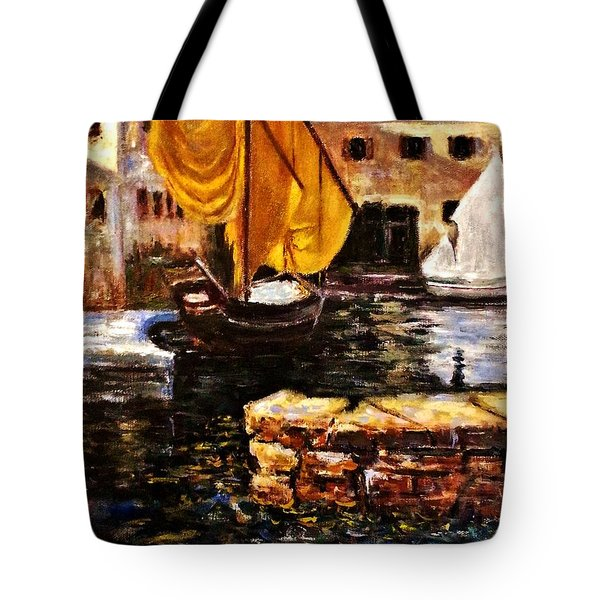 Boat With Golden Sail,san Vigilio  Tote Bag