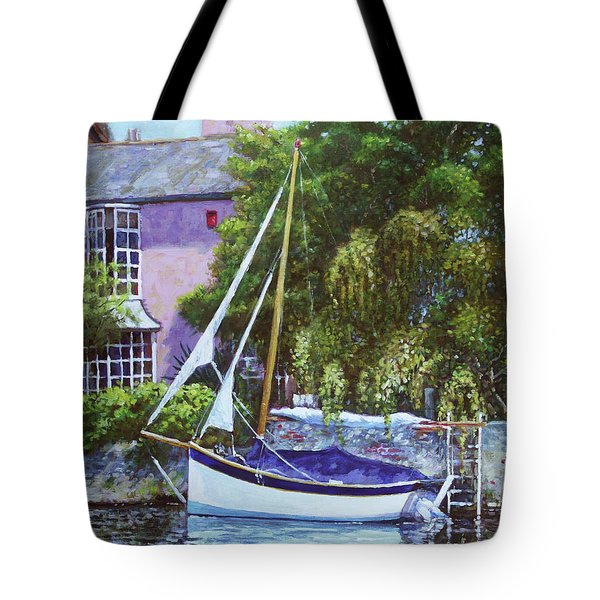 Tote Bag featuring the painting Boat With Pink House On River by Martin Davey