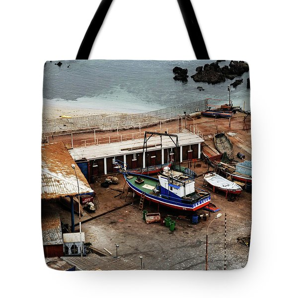 Boat Yard Iquique Harbor Chile Tote Bag
