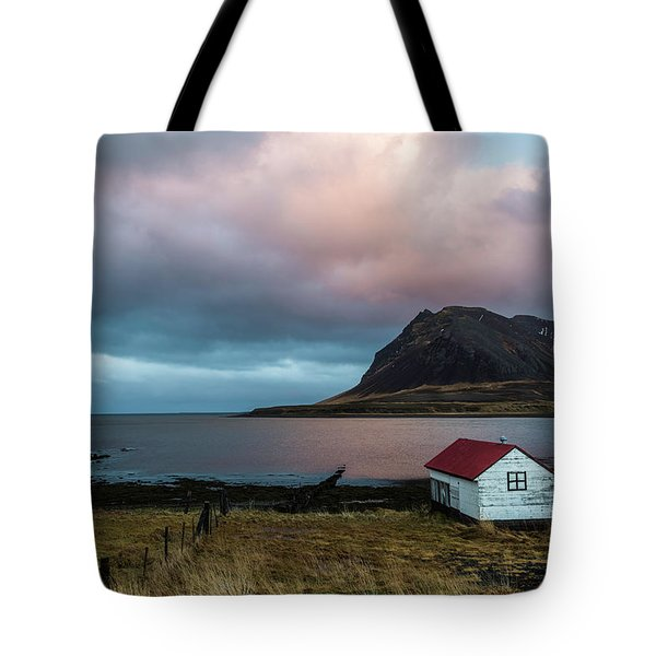 Boathouse At Sunrise Tote Bag by Scott Cunningham